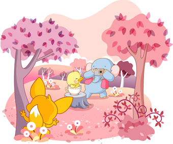 free vector Cute animal theme of life lt2gt