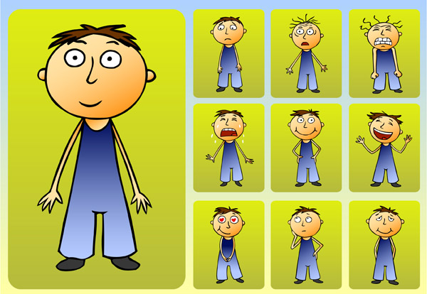 free vector Cute boys and girls clip art