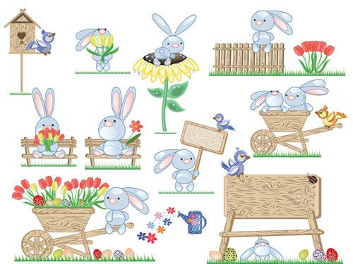 free vector Cute bunny easter eggs vector 2