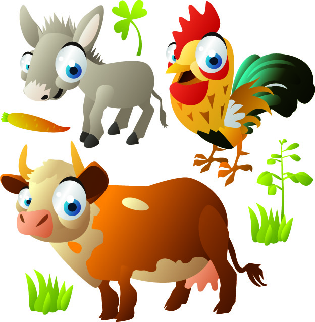 free vector Cute cartoon animal images vector