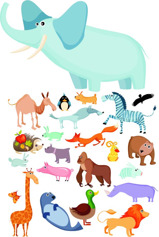 free vector Cute cartoon animals vector