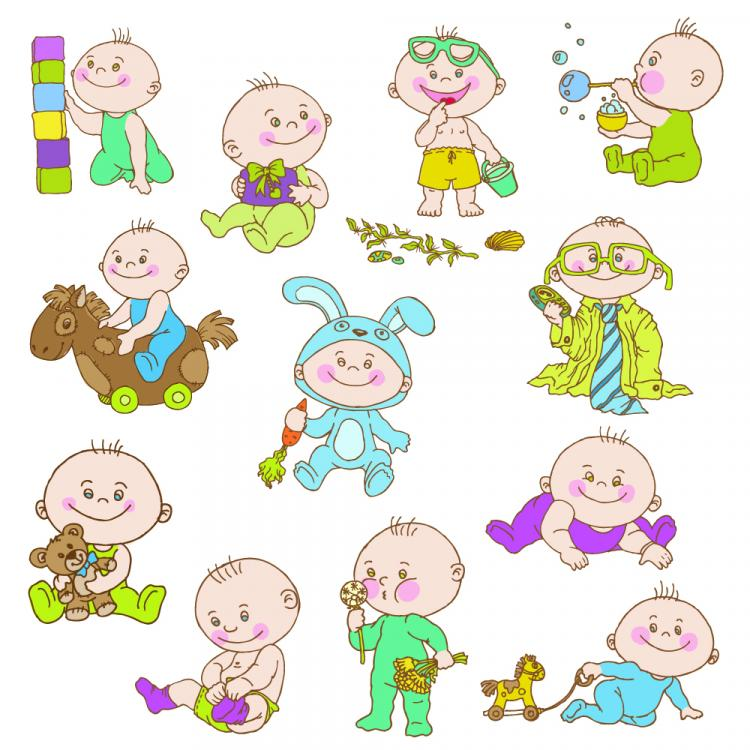free vector Cute cartoon baby 01 vector