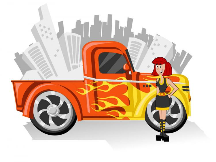 free vector Cute cartoon characters and car 01 vector