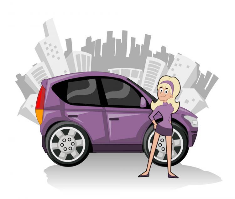 free vector Cute cartoon characters and car 02 vector
