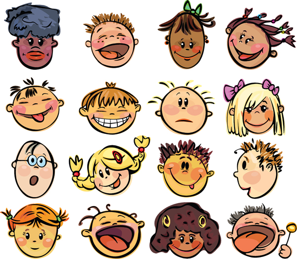 free vector Cute cartoon face vector