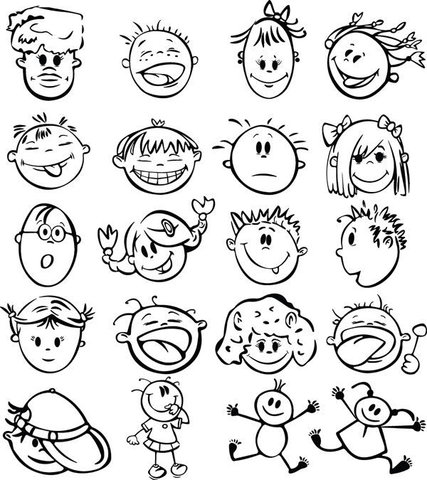 Cute cartoon face vector Free Vector / 4Vector