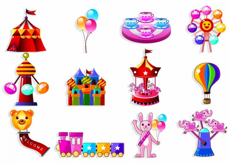 free vector Cute cartoon icon playground 01 vector