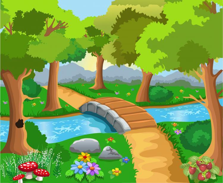 Cute Cartoon Landscape Vector Free Vector 4vector