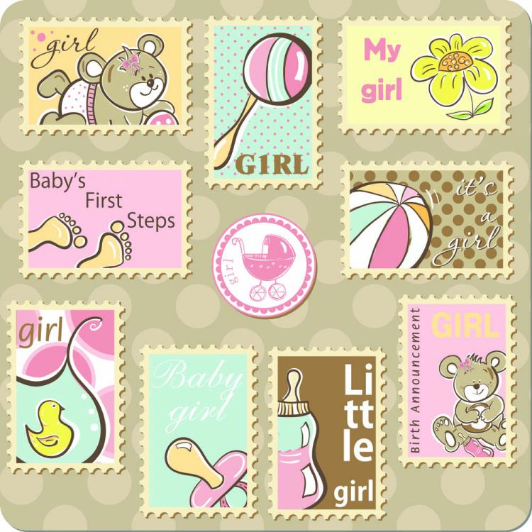 free vector Cute cartoon ornaments stamp vector