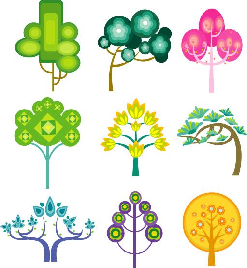 free vector Cute cartoon trees vector material