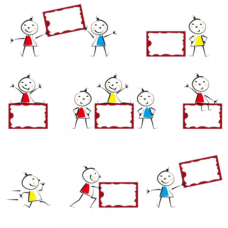 free vector Cute child with bulletin board vector