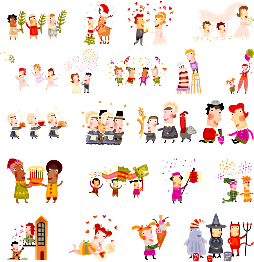 free vector Cute christmas characters vector