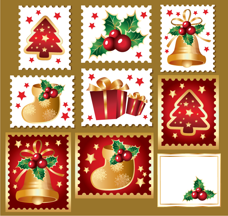 free vector Cute christmas stamps vector