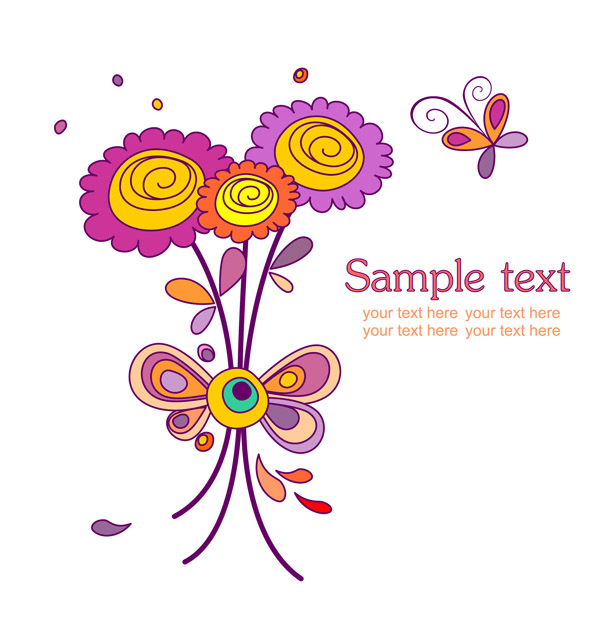 free vector Cute colorful flowers theme vector