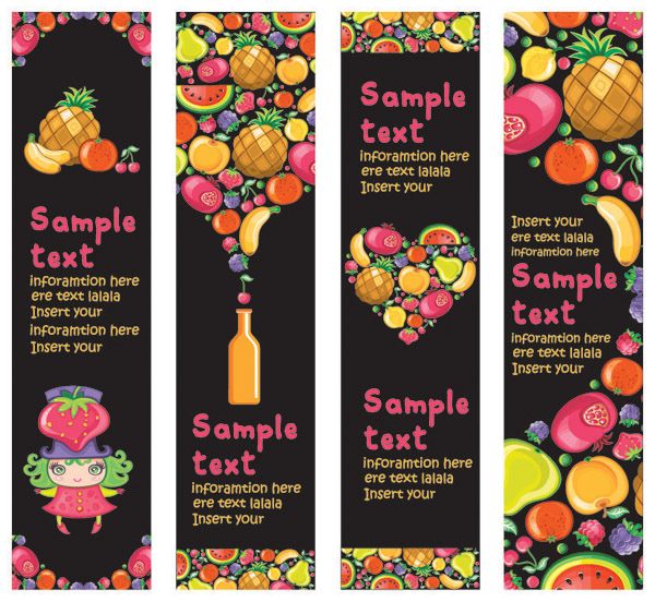 free vector Cute colorful fruits and banner vector