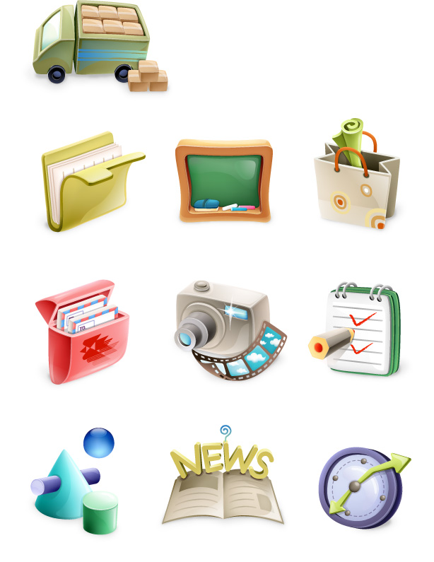 free vector Cute exquisite three-dimensional icon vector material-1