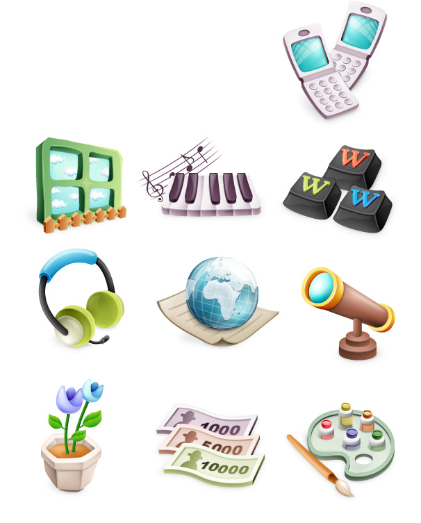 free vector Cute exquisite three-dimensional icon vector material-2
