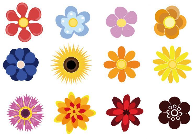 Cute Flower Line Drawing : Cute flowers free vector