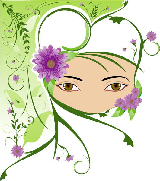 free vector Cute girl with the pattern vector material