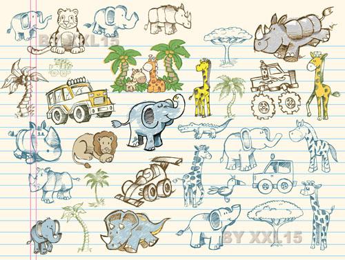 free vector Cute graffiti 02 vector