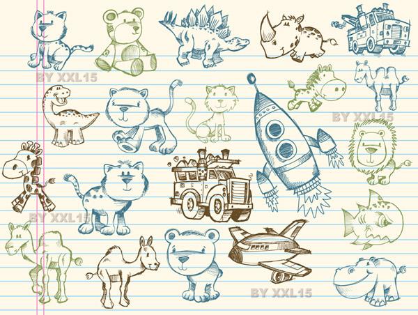 free vector Cute graffiti pattern vector