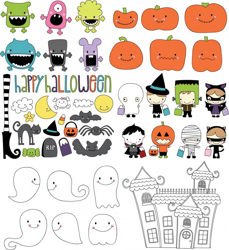 free vector Cute halloween theme vector