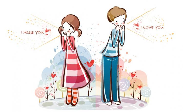 free vector Cute little couple vector 0115