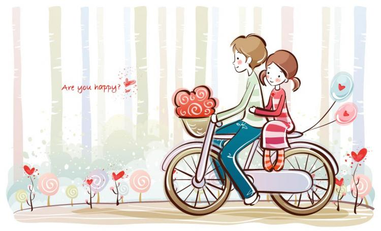 free vector Cute little couple vector 1630