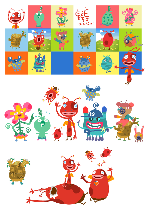 free vector Cute little monsters vector