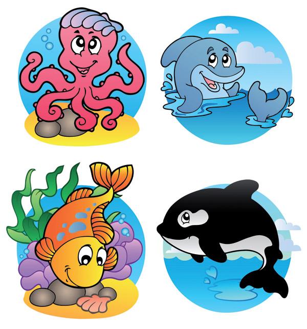 free vector Cute marine animals vector
