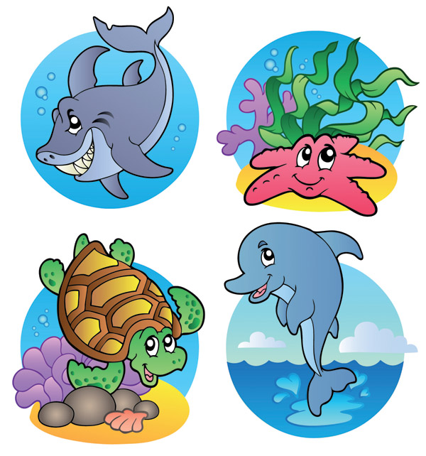 free vector Cute marine animals vector