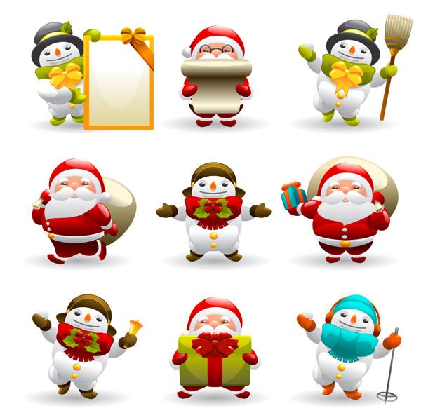 free vector Cute santa claus and snowman vector