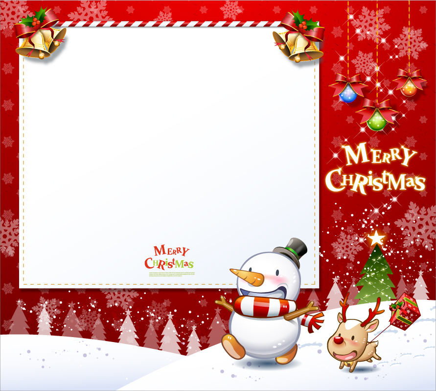 free vector Cute snowman and santa claus 01 christmas vector