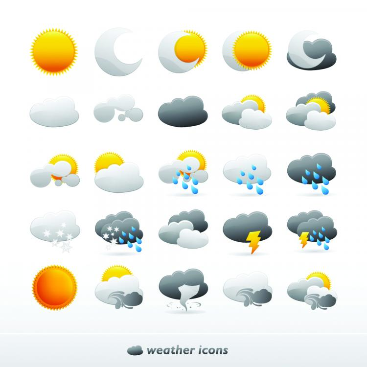 free vector Cute Vector Weather Icons