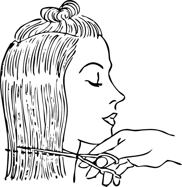 free vector Cutting Woman S Hair clip art