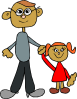 free vector Dad Holding Daughters Hand clip art