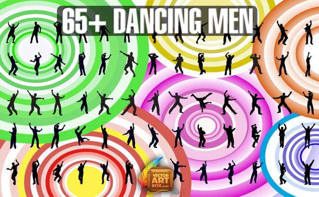 free vector Dancing Men Silhouettes