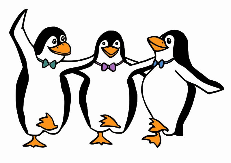 free vector Dancing Penguins