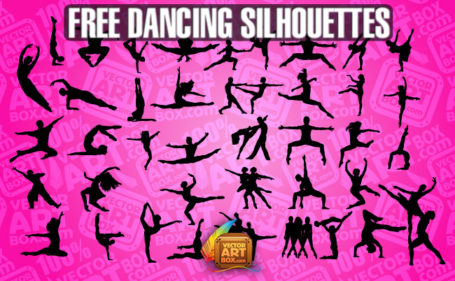 free vector Dancing People Silhouettes