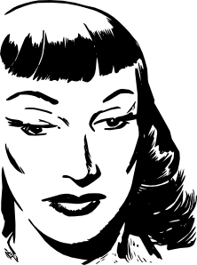 free vector Dark Haired Woman With Bangs clip art