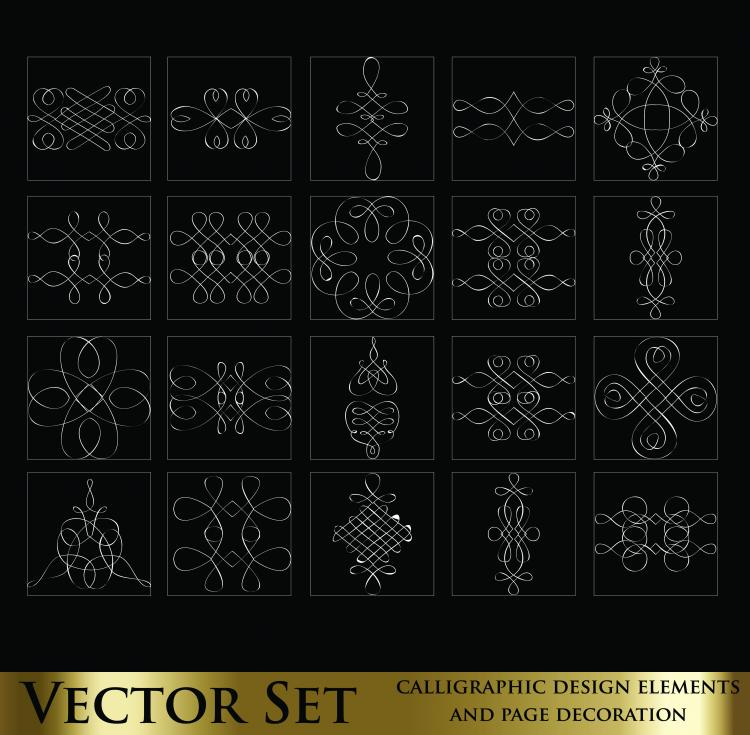 free vector Decorative elements line draft 02 vector