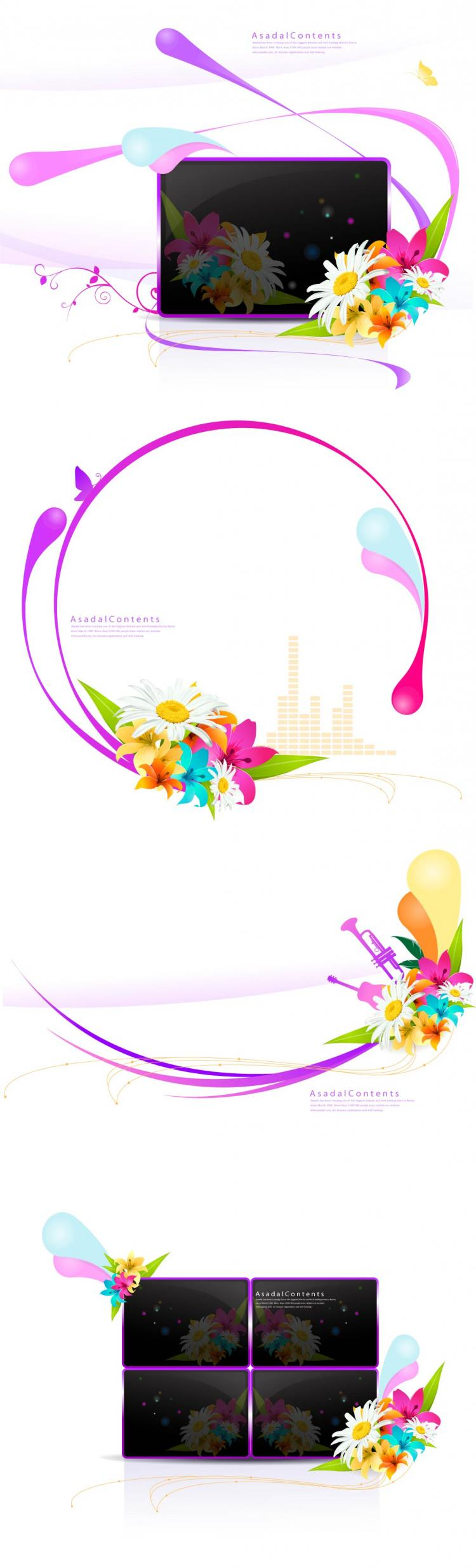 free vector Decorative flower pattern vector fashion