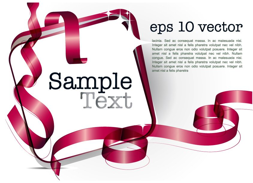 free vector Decorative ribbon design template vector 4 text