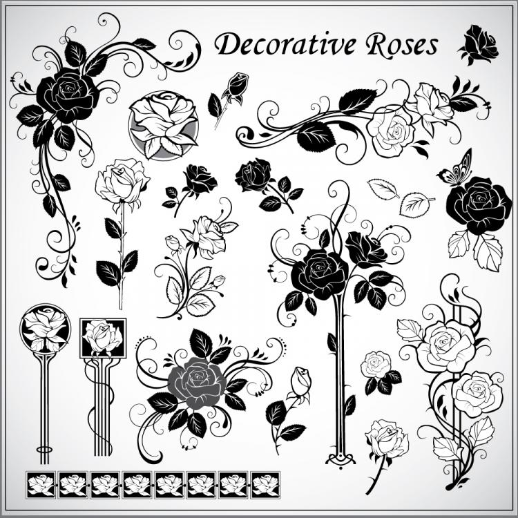 free vector Decorative rose pattern 01 vector