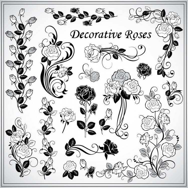 free vector Decorative rose pattern 02 vector