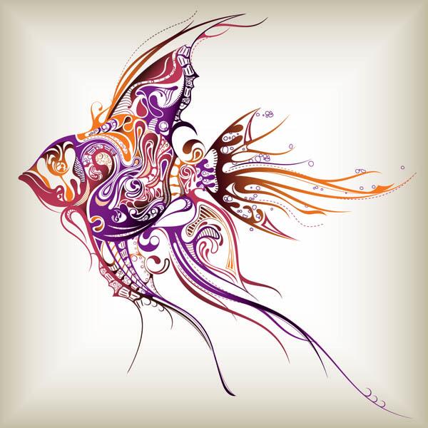free vector Delicate marine life pattern vector