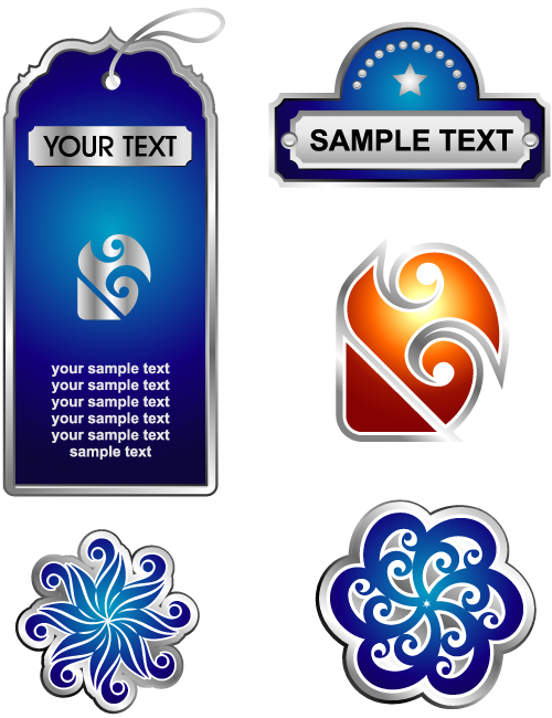 free vector Delicate Pattern Label Stickers - Vector Material Fine Patterns Labels