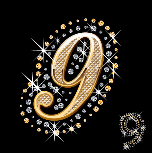 free vector Diamond embedded in the english alphabet arabic numerals and symbols vector