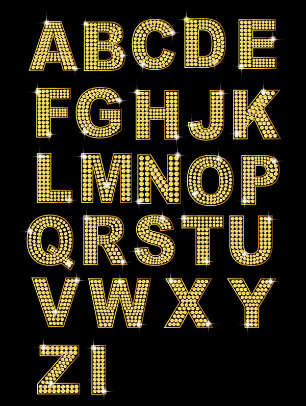 free vector Diamond letters and numbers vector gold