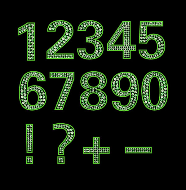 free vector Diamond letters and numbers vector green